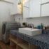 造作棚とモザイクタイルの洗面台